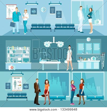 Medicine banners interior hospital doctor and patient emergency room vector illustration