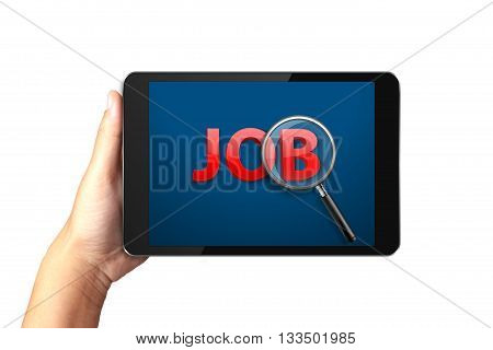 Hand holding digital tablet with Job search on display, Job search concept.