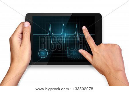 Hands holding and heart cardiogram sign on tablet