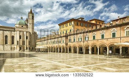 An image of the Piazza del Popolo in Ascoli Piceno Italy