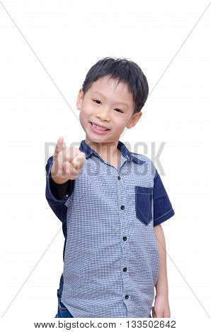 Young Asian boy showing his pinkie over white