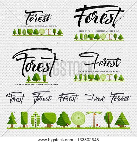 Forest - insignia is made with the help of lettering and calligraphy skills, use the right typography and composition.
