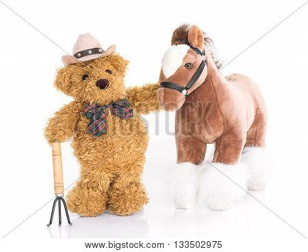 Teddy Bear .farmer With Pitchfork  And Horse