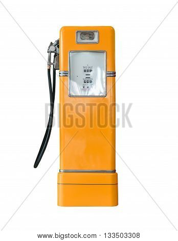 Vintage Orange Fuel Pump On White
