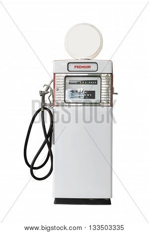 Vintage White Fuel Pump On White Background