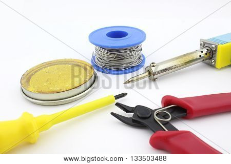 Welding tools, cutting plier, soldering wire, screw driver, letcon, soldering paste