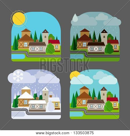 Small town landscape in flat style. Four seasons colorful landscape icons. Vector illustration