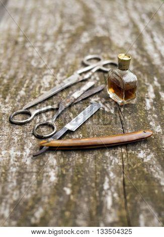 Vintage tools set of barber shop on wood desk