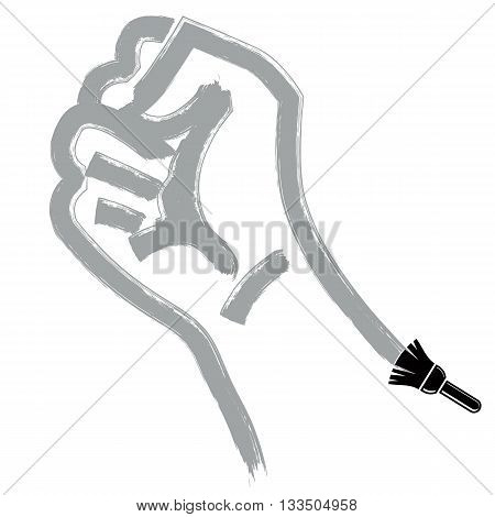 Vector brushed illustration of clenched fist held in protest hand gesture expressing strength and aggression.