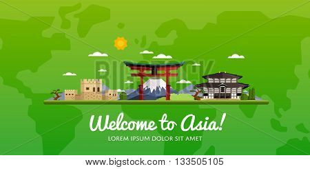 Welcome to Asia, travel on the world concept, traveling flat vector illustration.