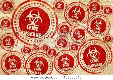 Lyme virus concept background, red stamp on a grunge paper textu