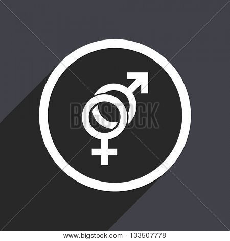 gender icon, gray vector flat design internet button, web and mobile app illustration