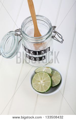 baking soda and lime on the white background