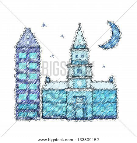 Buildings and moon. Sketch doodle illustration. Imitation of the hand made doodle style. Vector.