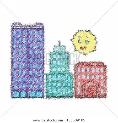 Buildings and sun. Sketch doodle illustration. Imitation of the hand made doodle style. Vector.