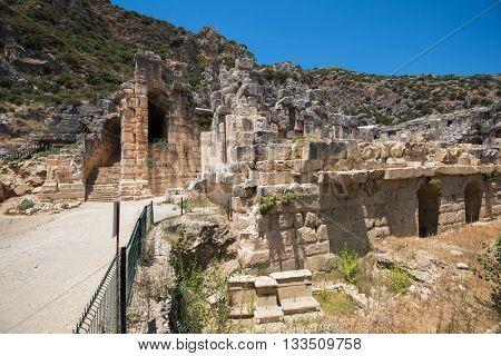 Ancient lycian Myra rock tomb