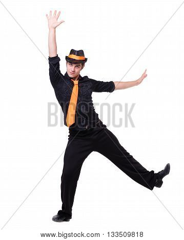 Disco dancer showing some movements against isolated white background with copyspace
