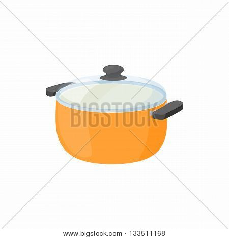Cooking pan with glass lid icon in cartoon style on a white background