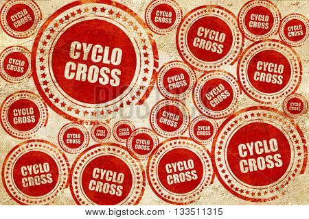 cyclo cross sign background, red stamp on a grunge paper texture