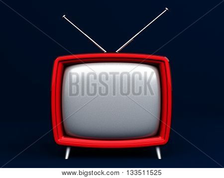 3D Illustration of old style red TV