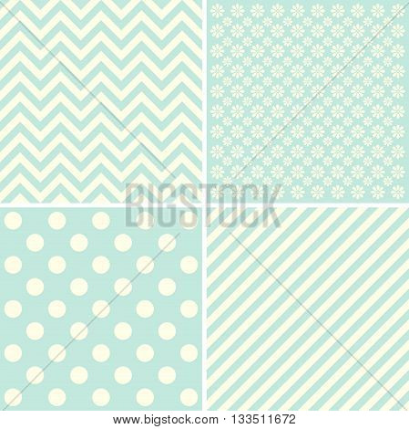 Vector set of 4 background patterns. Great for greeting cards baby cards baby shower.