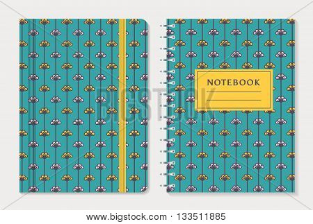 Notebook cover design. Notepad with elastic band and spiral notebook with cute yellow and white flowers on blue background. Floral collection. Vector set.