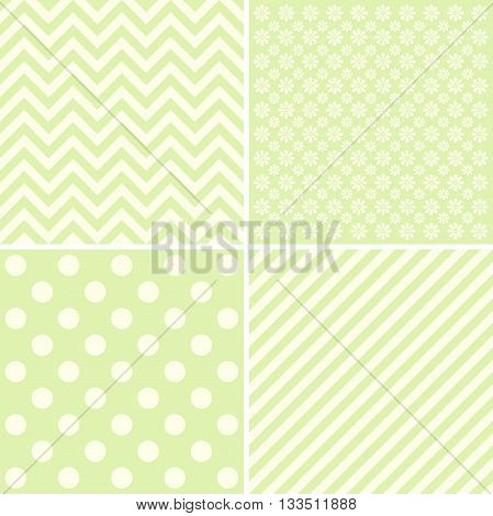 Vector set of 4 background patterns in pale green.