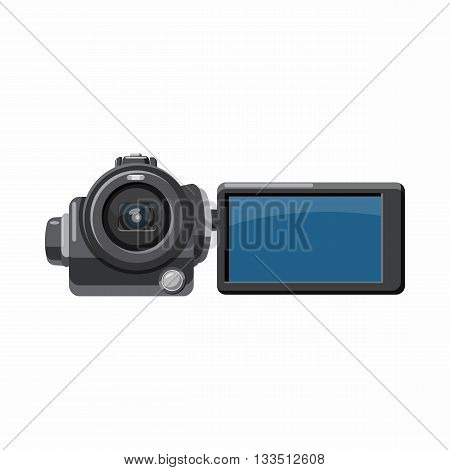 Digital video camera icon in cartoon style on a white background