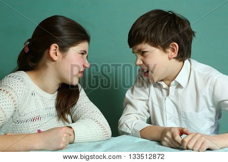 siblings brother and sister quarreling teasing each other close up portrait