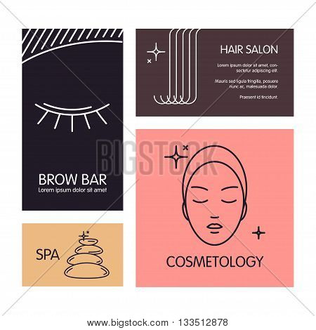 Set of business cards vector template on the theme of beauty and health. Emblems for hair and brow salon, cosmetology, spa salon, barbershop.