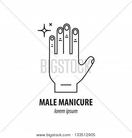 Vector line logo with the image of well-groomed men s hands with nails and sparkling highlights, symbolizing purity and care. It can be used for male manicure salon or web icon.