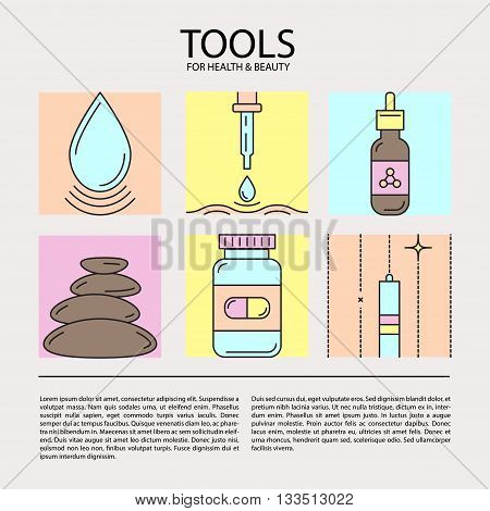 Set of vector icons on the theme of beauty and health tools. Made in trendy color line style. Emblems for cosmetics, pharmaceuticals, medical cosmetology, spa.