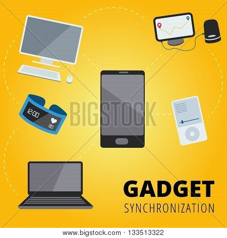 Gadget online synchronization vector concept design with pc laptop smartphone smart bracelet mp3 player and GPS navigator devices