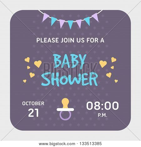 Baby shower invitation card template. Violet applicable for girl or boy pacifier. Colored flat vector illustartion.