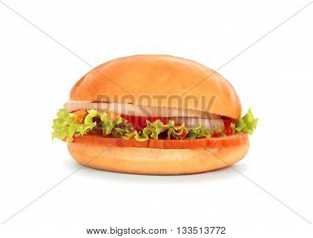 mouthwatering burgers isolated on white background .
