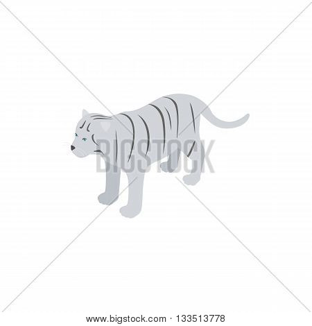 White tiger icon in isometric 3d style isolated on white background. Animal symbol