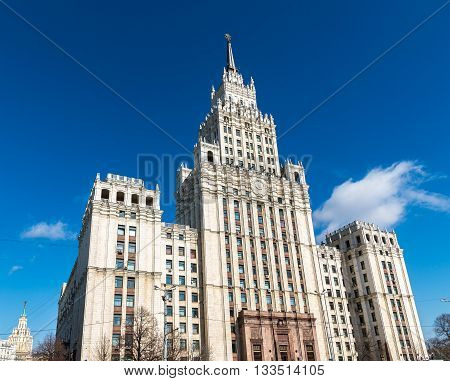 Stalin skyscraper on the square of the Red Gate in Moscow, Russia