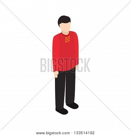 Male singaporean icon in isometric 3d style isolated on white background. People symbol