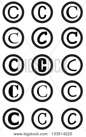 copyright icon set intellectual property symbol sign connection design