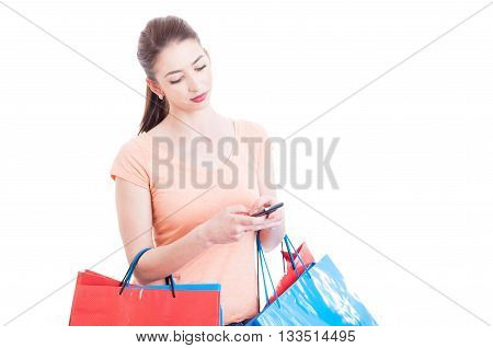 Shopping Woman Texting Or Checking Online Banking