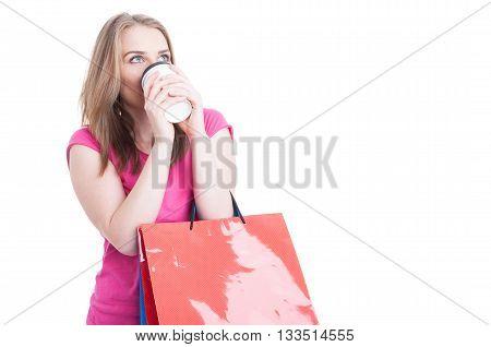 Shopping Break Concept With Young Girl Enjoying Coffee
