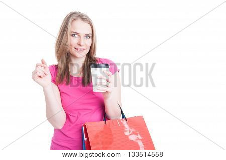 Beautiful Young Female Doing Shopping And Drinking Coffee