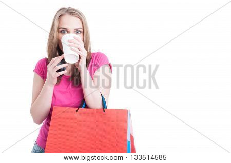 Portrait Of Shopping Female Relaxing With A Cup Of Coffee