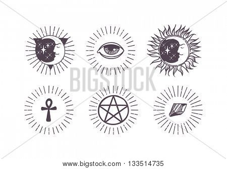 Esoteric symbols vector illustration.