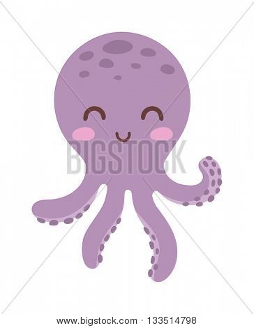 Illustration of cartoon octopus vector.