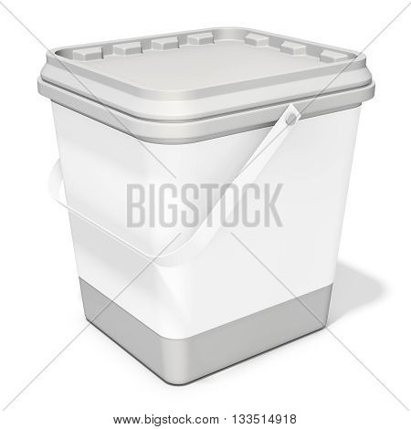 3d white food plastic tub bucket container with lid cap product packing on white background 3D illustration