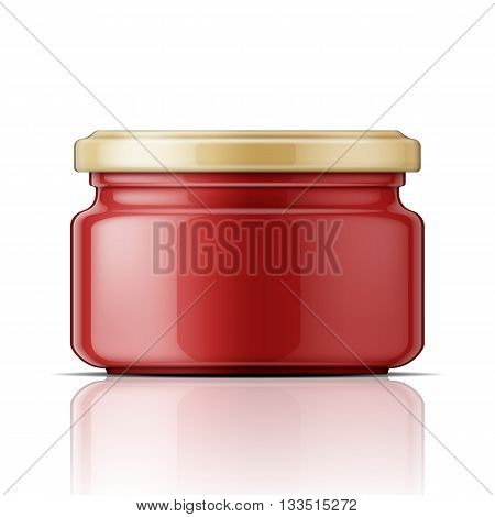 Glass jar with red tomato paste or sauce. Vector illustration. Packaging collection.