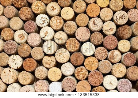 Background of used wine corks, wall of many different wine corks close up