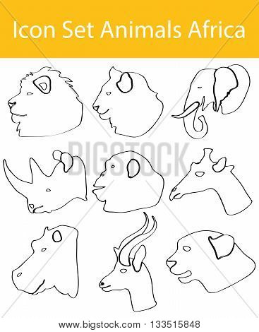Drawn Doodle Lined Icon Set Animals Africa