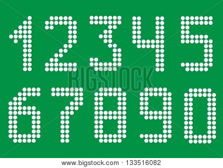 White point numbers on green background. Vector illustration